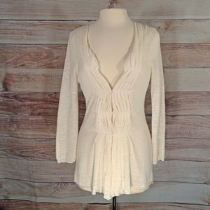 Anthropologie Tops - Anthropologie Moth White Cardigan Sweater Size M